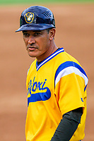 Biloxi Shuckers manager Mike Guerrero (13) during a Southern League game against the Tennessee Smokies on May 25, 2017 at Smokies Stadium in Kodak, Tennessee.  Tennessee defeated Biloxi 10-4. (Brad Krause/Krause Sports Photography)