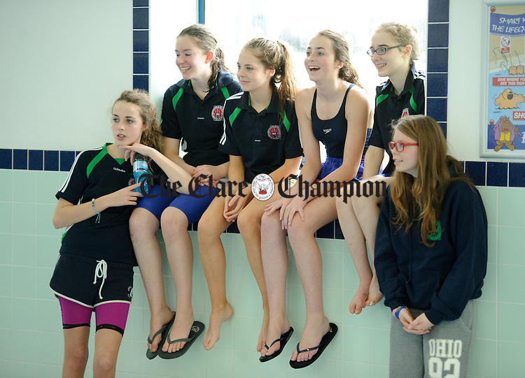Tara Mc Evoy, Brina Fennell, Edel Williams, Aly Mc Guinness, Robyn Maxwell and Molly Moloney cheering on their friends at the Ennis Swimming Club Christmas Gala. Photograph by John Kelly.