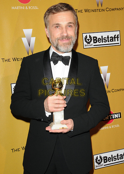 CHRISTOPHER WALTZ.At Weinstein Company Post Golden Globe Party held at Bar210 & Plush Ultra Lounge in Beverly Hills, California, USA. January 17th, 2010                                                                   globes half length black tuxedo jacket bow tie award trophy beard facial hair.CAP/DVS.©Debbie VanStory/Capital Pictures