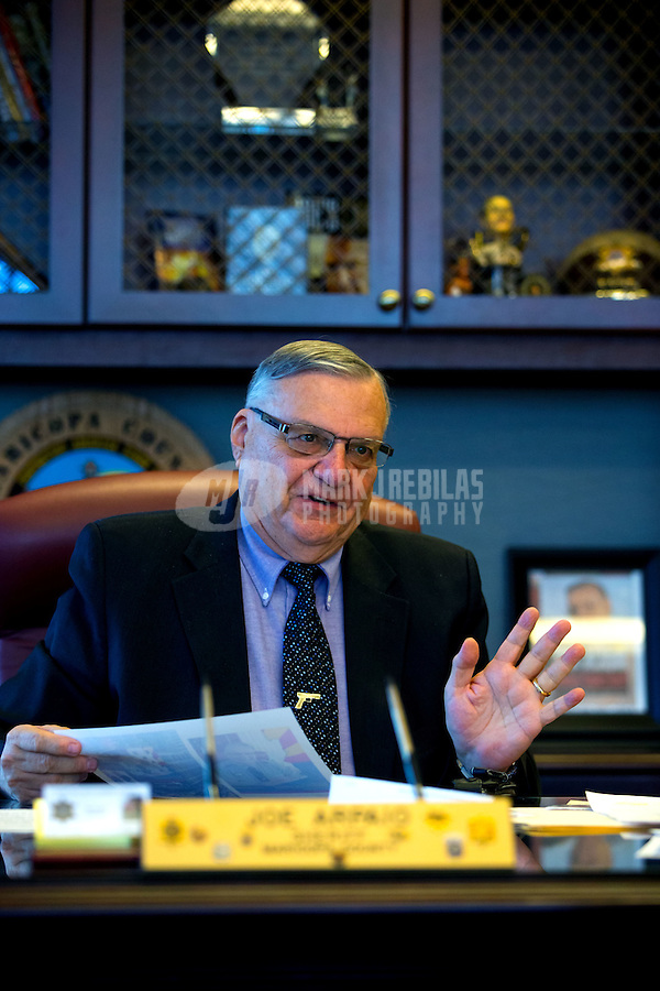 Jan 21, 2015; Phoenix, AZ, USA; Maricopa County sheriff Joe Arpaio reacts in his office in downtown Phoenix. Mandatory Credit: Mark J. Rebilas-