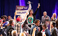LAS VEGAS, NV - April 6, 2019: Protestors pcitured as President Donald J. Trump addresses The Republican Jewish Coalition Annual Leadership Meeting at The Venetian Resort  in Las Vegas, NV on April 6, 2019.     <br /> CAP/MPI/EKP<br /> ©EKP/MPI/Capital Pictures