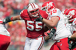 Wisconsin Badgers defensive lineman Eriks Briedis (55) battles Austin Peay Governors offensive lineman Chris Hartman (79) during an NCAA college football game  on September 25, 2010 at Camp Randall Stadium in Madison, Wisconsin. The Badgers beat the Governors 70-3. (Photo by David Stluka)