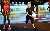 23.02.2018 Action during the Malawi v Jamaica Taini Jamison Trophy netball match at the North Shore Events Centre in Auckland. Mandatory Photo Credit ©Michael Bradley.