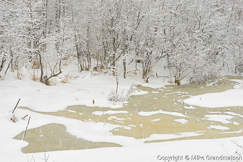 Ice on pond during a snow storm<br /> <br /> Thunder Bay<br /> Ontario<br /> Canada