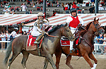 Yoshida (no. 1) returns after winning the Woodward Stakes (Grade 1), Sep. 1, 2018 at the Saratoga Race Course, Saratoga Springs, NY.    Ridden by  Joel Rosario, and trained by William Mott,  Yoshinda finished 2 lengths in front of Gunnevera (No. 9). (Bruce Dudek/Eclipse Sportswire)