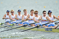 Brandenburg, GERMANY,  GBR BM8+.  Bow, Josh DAVIDSON, Chris ABRAMS, Mason DURANT, Fred GILL, Karl HUDSPITH, matthew ROSSITER, Nathaniel REILLY-O'DONNELL, Scott DURANT and cox Henry FIELDMAN, move away from the start at the 2008 FISA U23 World Rowing Championships, {idow], {date}, [Mandatory credit: Peter Spurrier Intersport Images]. Rowing Course: Brandenburg, Havel Rowing Course, Brandenburg, GERMANY