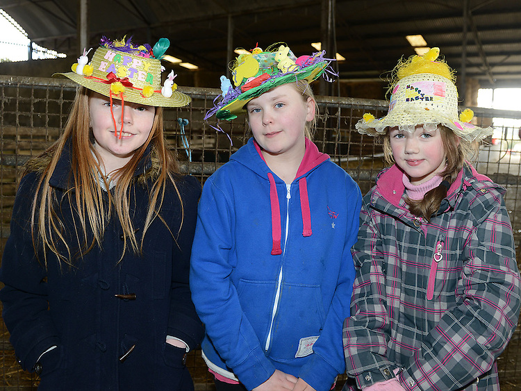 Niamh Doyle, Mary Rice and Paige Acton who took part in the Easter bonnet competition at Newgrange Farm. Photo:Colin Bell/pressphotos.ie