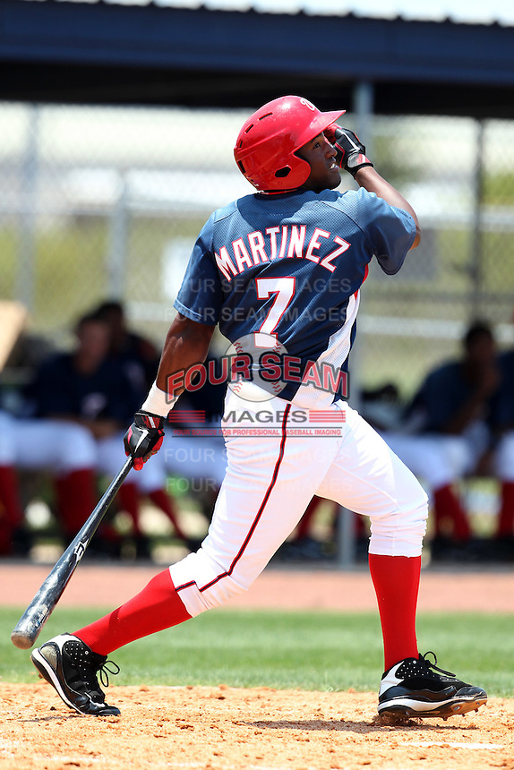 GCL Nationals Estarlin Martinez #7 during a game against the GCL Mets at the Washington Nationals Minor League Complex on June 20, 2011 in Melbourne, Florida.  The Nationals defeated the Mets 5-3.  (Mike Janes/Four Seam Images)