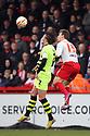 Luke Ayling of Yeovil and Luke Freeman of Stevenage challenge for a header. Stevenage v Yeovil Town- npower League 1 -  Lamex Stadium, Stevenage - 13th April, 2013. © Kevin Coleman 2013.. . . . .. . . .  . . .  .