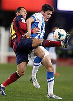 Real Sociedad's Gorka Elustondo (r) and FC Barcelona's Adriano Correia during La Liga match.February 22,2014. (ALTERPHOTOS/Acero) <br /> Football Calcio 2013/2014<br /> La Liga Spagna<br /> Foto Alterphotos / Insidefoto <br /> ITALY ONLY