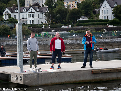Race Officers get the first race away from Cove Island Sailing Club's new marina pontoons
