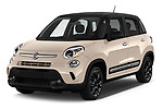 2016 Fiat 500L Trekking 5 Door Mini MPV Angular Front stock photos of front three quarter view