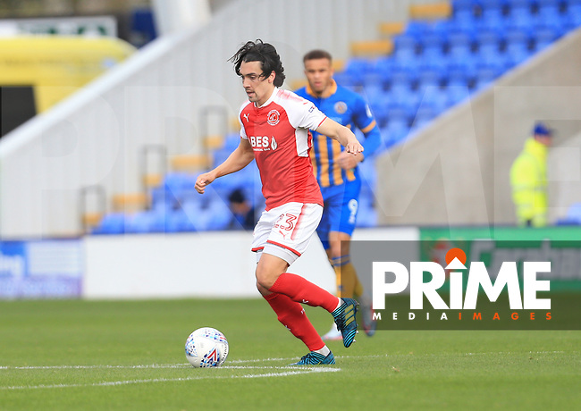 Markus Schwabl of Fleetwood Town during the Sky Bet League 1 match between Shrewsbury Town and Fleetwood Town at Greenhous Meadow, Shrewsbury, England on 21 October 2017. Photo by Leila Coker / PRiME Media Images.