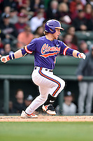 Clemson Tigers designated hitter Robert Jolly (12) swings at a pitch during a game against the South Carolina Gamecocks at Fluor Field on March 5, 2016 in Greenville, South Carolina. The Tigers defeated the Gamecocks 5-0. (Tony Farlow/Four Seam Images)