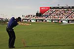 Dubai World Championship Golf. Earth Course,.Jumeirah Golf Estate, Dubai, U.A.E...Camilo Villegas playing his thirdy shot onto the 18th green during the third round of the Dubai World Golf championship..Photo: Fran Caffrey/www.golffile.ie...