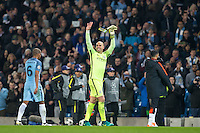 Goalkeeper Wilfredo Caballero of Manchester City leaves the field happy after the win during the UEFA Champions League match between Manchester City and Barcelona at the Etihad Stadium, Manchester, England on 1 November 2016. Photo by Andy Rowland / PRiME Media Images.