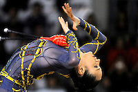 November 9, 2008; Durango, Spain (near Bilbao); Rhythmic gymnast Anna Bessonova of Ukraine performs clubs gala at 2008 Euskalgym International.  Anna won bronze at Beijing 2008 Olympics..