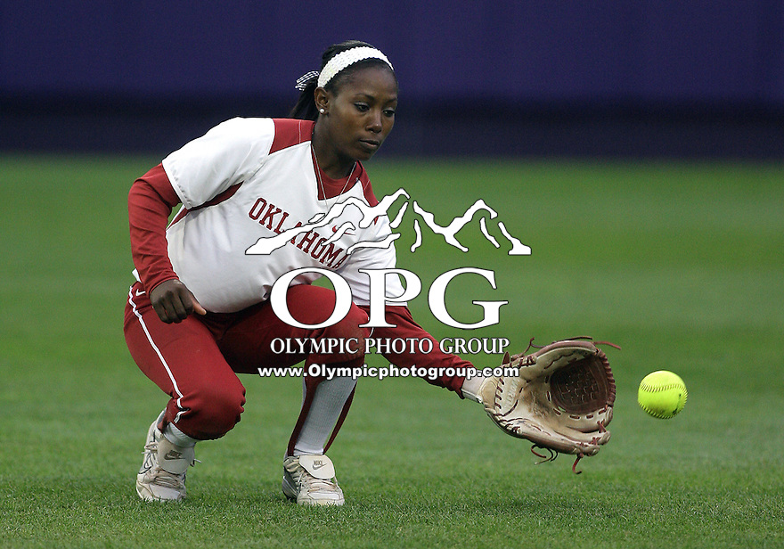 28 May 2010:  Oklahoma center fielder Krystle Huey warms up between innings against Washington.  Washington defeated Oklahoma 3-0 in the second game of the NCAA Super Regional at Husky Softball Stadium in Seattle, WA.