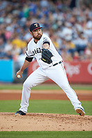 Toledo Mud Hens relief pitcher Kevin Comer (36) in action against the Louisville Bats at Fifth Third Field on June 16, 2018 in Toledo, Ohio. The Mud Hens defeated the Bats 7-4.  (Brian Westerholt/Four Seam Images)