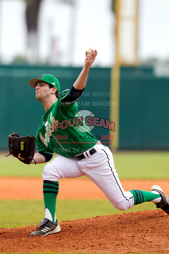 Notre Dame Fighting Irish pitcher Joe Spano #21 delivers a pitch during a game against the Purdue Boilermakers at the Big Ten/Big East Challenge at Al Lang Stadium on February 19, 2012 in St. Petersburg, Florida.  (Mike Janes/Four Seam Images)