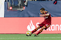 FOXBOROUGH, MA - SEPTEMBER 21: Justin Portillo #43 of Real Salt Lake passes the ball during a game between Real Salt Lake and New England Revolution at Gillette Stadium on September 21, 2019 in Foxborough, Massachusetts.