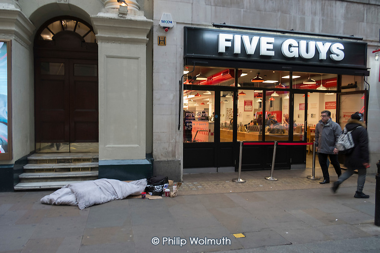 Sleeping place of homeless rough sleeper, Argyle Street, Oxford Circus, London