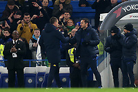 Chelsea Manager, Frank Lampard and Aston Villa Assistant Head Coach, John Terry shake hands at the final whistle during Chelsea vs Aston Villa, Premier League Football at Stamford Bridge on 4th December 2019
