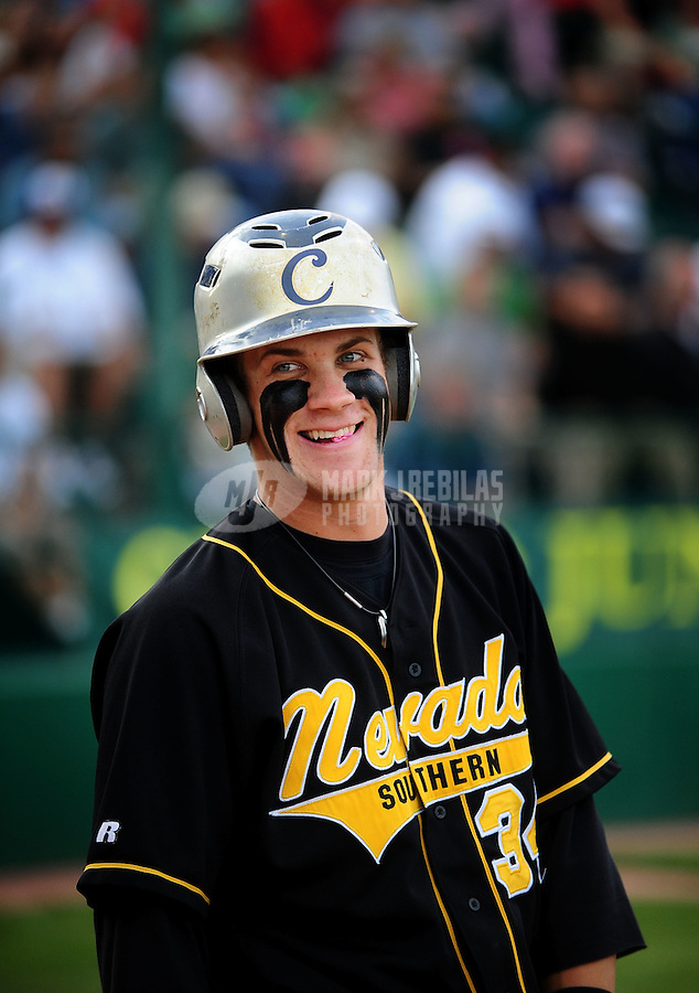 Jun. 1, 2010; Grand Junction, CO, USA; Southern Nevada Coyotes right fielder Bryce Harper against Iowa Western C.C. during the Junior College World Series as Suplizio Field. Southern Nevada won the game 12-7. Mandatory Credit: Mark J. Rebilas-
