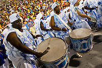 The drums section of Portela samba school performs during the Carnival parade at the Sambadrome in Rio de Janeiro, Brazil, 20 February 2012. The Carnival in Rio de Janeiro, considered the biggest carnival in the world, is a colorful, four day celebration, taking place every year forty days before Easter. The Samba school parades, featuring thousands of dancers, imaginative costumes and elaborate floats, are held on the Sambadrome, a purpose-built stadium in downtown Rio. According to costumes, flow, theme, band music quality and performance, a single school is declared the winner of the competition.