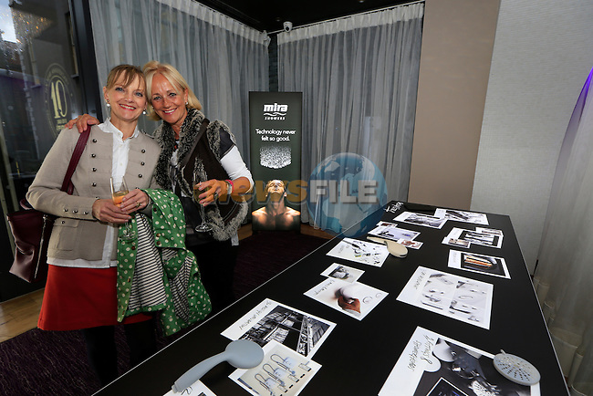 Anne Greene and Niamh McCarthy during the Mira Elite Shower product launch in the Mansion House, Dublin Ireland.<br /> Picture Fran Caffrey /Newsfile.ie<br /> <br /> <br /> Founded in 1921, Mira is the UK&rsquo;s leading manufacturer of mixer, electric, power and digital showers.  The entire range of showers and accessories, such as taps and shower trays, use stylish design and innovative technology to deliver a high performance showering experience in every price range.  Mira is owned by leading American bathroom manufacturer Kohler Co. Mira shower products are available in retailers nationwide, including B&amp;Q, and can be found in one in four homes in the UK.<br /> <br /> Mira Showers have now proved they are better by design by winning a Red Dot Award with the high design quality of the Fluency tap. The panel of international experts discussed and evaluated 4,815 entries from 53 countries, but only designs with quality and innovative strength won an award. <br /> <br /> Mira Showers is celebrating the launch in Ireland with the introduction of the Mira Elite to the market. 75% quieter than any other pumped electric shower, the Mira Elite is the perfect solution for any low pressure water systems.<br /> <br /> The Mira Elite has been acoustically engineered to make it the quietest electric shower around and with an integrated pump, this shower will always guarantee a strong and consistent water flow. Conveniently designed, the filter is easily accessible allowing it to be straightforwardly cleaned and the four spray showerhead with rub-clean nozzles, allows your shower to maintain its performance.