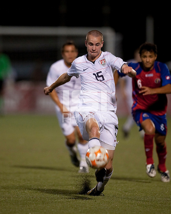 Brian Ownby kicks the ball. Costa Rica defeated the US Under 20 Men's National team 3-0 during the 2009 CONCACAF U-20 Championship game at Marvin Lee Stadium Trinidad & Tobago in Macoya, Trinidad on March 17th, 2009.