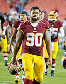 Washington Redskins defensive tackle Stephen Paea (90) leaves the field following his team's 21 - 17 victory over the Detroit Lions at FedEx Field in Landover, Maryland on Thursday, August 20, 2015.<br /> Credit: Ron Sachs / CNP