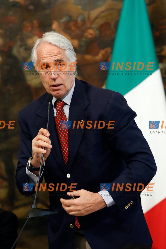 President of CONI Giovanni Malago'<br /> Rome April 11th 2019. Palazzo Chigi. Presentation of the 76° edition of International BNL of Italy tennis tournament.<br /> photo di Samantha Zucchi/Insidefoto