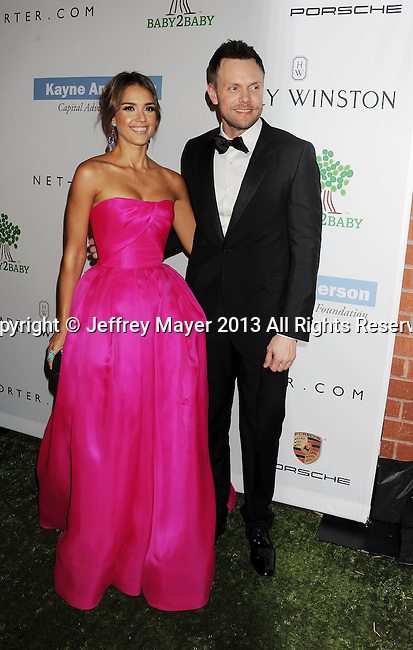 CULVER CITY, CA- NOVEMBER 09: Actress Jessica Alba (L) and actor/host Joel McHale  arrive at the 2nd Annual Baby2Baby Gala at The Book Bindery on November 9, 2013 in Culver City, California.