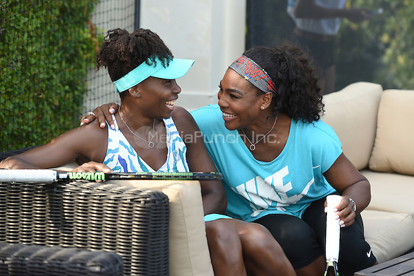 KEY BISCAYNE, FL - MARCH 24:  Venus Williams and Serena Williams attend The All Star Tennis event at the Ritz Carlton on March 24, 2015 in Key Biscayne, Florida. Credit: mpi04/MediaPunch