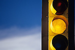 Traffic light yellow at intersection Woodinville Washington State USA