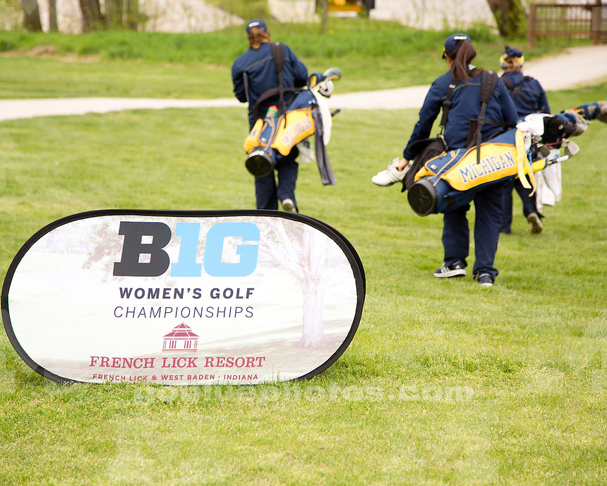 The University of Michigan women's golf team finished day two in tenth place at the Big Ten Championship at the Donald Ross Course (French Lick Resort) in French Lick, Ind., on April 27, 2013.