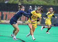 College Park, MD - April 19, 2018: Maryland Terrapins Grace Griffin (22) gets hit in the face by Penn State Nittany Lions Sophia Triandafils (23) during game between Penn St. and Maryland at  Field Hockey and Lacrosse Complex in College Park, MD.  (Photo by Elliott Brown/Media Images International)