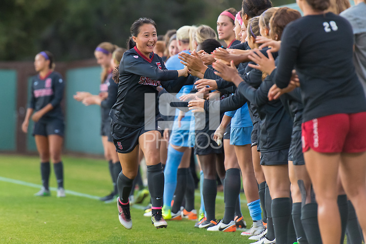 Stanford, CA - September 24, 2016:  Michelle Xiao during the Stanford vs Oregon Women's soccer match in Stanford, California.  The Cardinal defeated the Ducks 3-0.