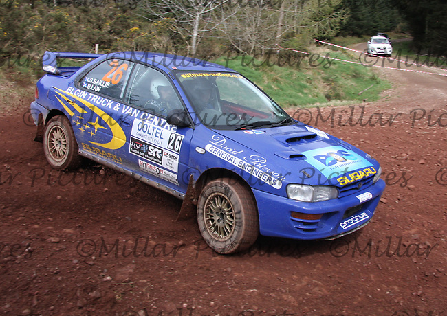 Stephen Baillie / David Law in a Subaru Impreza at Junction 8 on Whytes Cranes Special Stage 3 Drumtochty of the Coltel Granite City Rally 2012 which was based at the Thainstone Agricultural Centre, Inverurie.