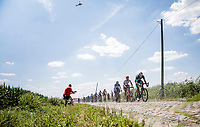 Marcus Burghardt (DEU/BORA Hansgrohe), Jasper Stuyven (BEL/Trek Segafredo) and Fernando Gaviria (COL/Quick Step Floors) in front of the peloton. <br /> <br /> Stage 9: Arras Citadelle > Roubaix (154km)<br /> <br /> 105th Tour de France 2018<br /> ©kramon