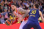 Turkish Airlines Euroleague 2017/2018.<br /> Regular Season - Round 28.<br /> FC Barcelona Lassa vs Baskonia Vitoria Gasteiz: 73-86.<br /> Vincent Poirier vs Victor Claver.