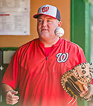 22 August 2015: Washington Nationals bullpen coach Matthew LeCroy chats in the dugout prior to a game against the Milwaukee Brewers at Nationals Park in Washington, DC. The Nationals defeated the Brewers 6-1 in the second game of their 3-game weekend series. Mandatory Credit: Ed Wolfstein Photo *** RAW (NEF) Image File Available ***