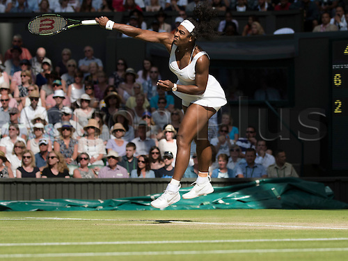 09.07.2015. Wimbledon, England. The Wimbledon Tennis Championships. Ladies Singles semi-final match between top seed Serena Williams (USA) and fourth seed Maria Sharapova (RUS). Serena Williams in action