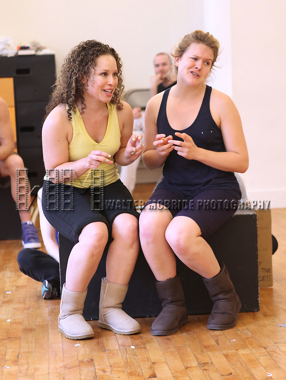 Shelley Thomas & Claire Neumann.with the cast from 'Triassic Parq The Musical'  during a Sneak Peek Rehearsal at the CAP21 Studios in New York City on 5/30/2012. © Walter McBride/WM Photography / Retna Ltd.