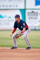 Potomac Nationals second baseman David Masters (8) during the first game of a doubleheader against the Lynchburg Hillcats on June 9, 2018 at Calvin Falwell Field in Lynchburg, Virginia.  Lynchburg defeated Potomac 5-3.  (Mike Janes/Four Seam Images)