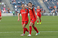 Bridgeview, IL - Saturday August 12, 2017: Hayley Raso, Christine Sinclair during a regular season National Women's Soccer League (NWSL) match between the Chicago Red Stars and the Portland Thorns FC at Toyota Park. Portland won 3-2.