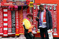 Scarves for sale outside Anfield as fans arrive ahead of kick-off<br /> <br /> Photographer Rich Linley/CameraSport<br /> <br /> UEFA Champions League Semi-Final 2nd Leg - Liverpool v Barcelona - Tuesday May 7th 2019 - Anfield - Liverpool<br />  <br /> World Copyright &copy; 2018 CameraSport. All rights reserved. 43 Linden Ave. Countesthorpe. Leicester. England. LE8 5PG - Tel: +44 (0) 116 277 4147 - admin@camerasport.com - www.camerasport.com