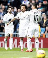 Real Madrid's Isco, Marcelo Vieira and James Rodriguez celebrate goal during La Liga match.January 31,2015. (ALTERPHOTOS/Acero) /NortePhoto<br /> /NortePhoto.com