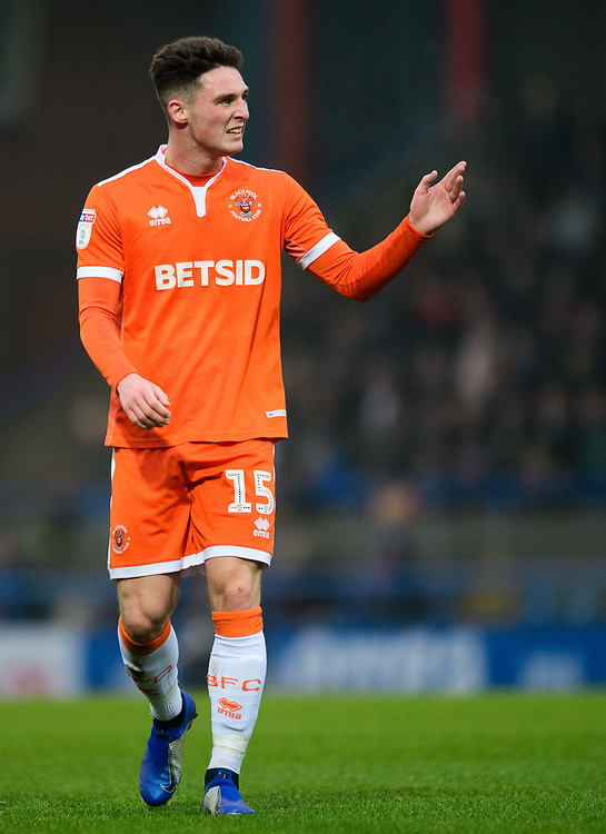 Blackpool's Jordan Thompson<br /> <br /> Photographer Chris Vaughan/CameraSport<br /> <br /> The EFL Sky Bet League One - Rochdale v Blackpool - Wednesday 26th December 2018 - Spotland Stadium - Rochdale<br /> <br /> World Copyright © 2018 CameraSport. All rights reserved. 43 Linden Ave. Countesthorpe. Leicester. England. LE8 5PG - Tel: +44 (0) 116 277 4147 - admin@camerasport.com - www.camerasport.com